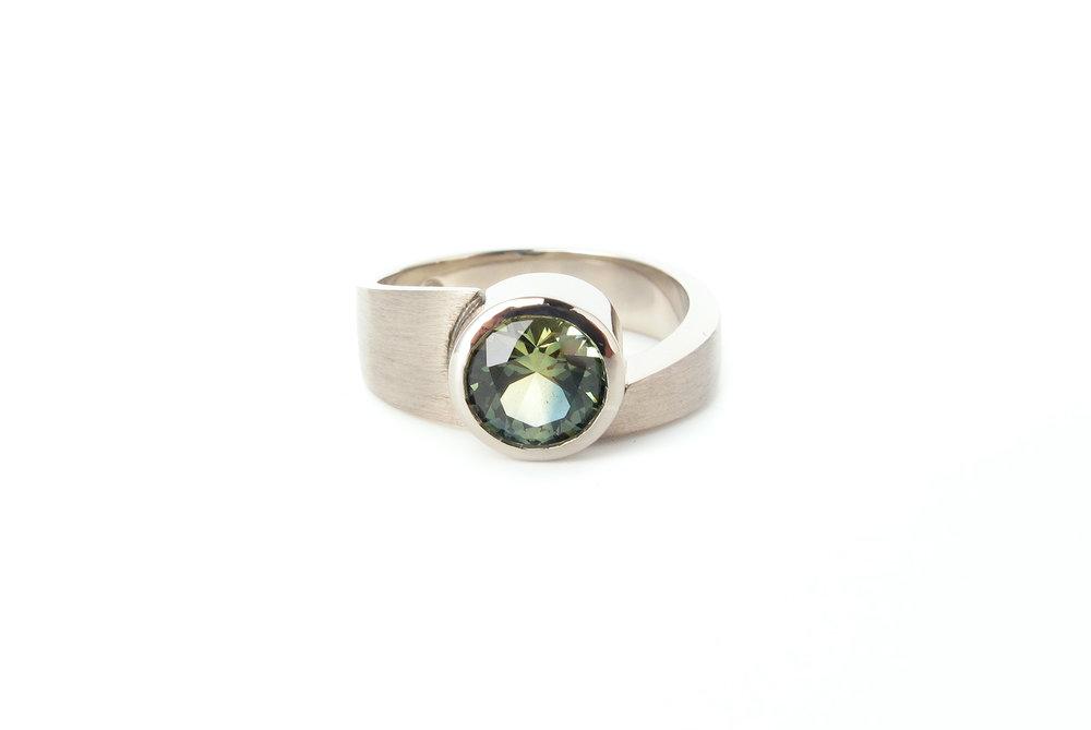 Parti sapphire asymmetrical ring