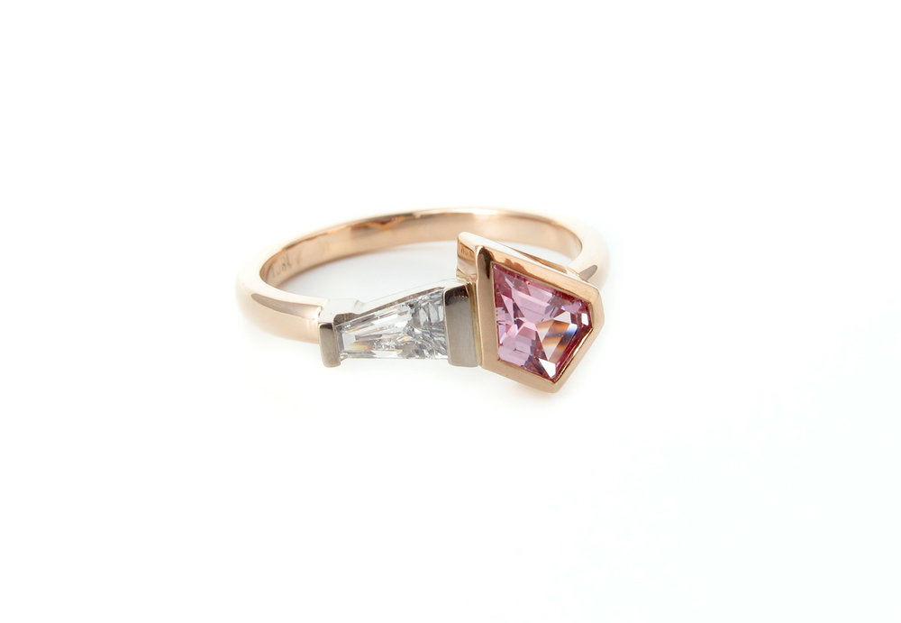 18ct rose gold and 18ct white gold, freeform pink sapphire and white diamond