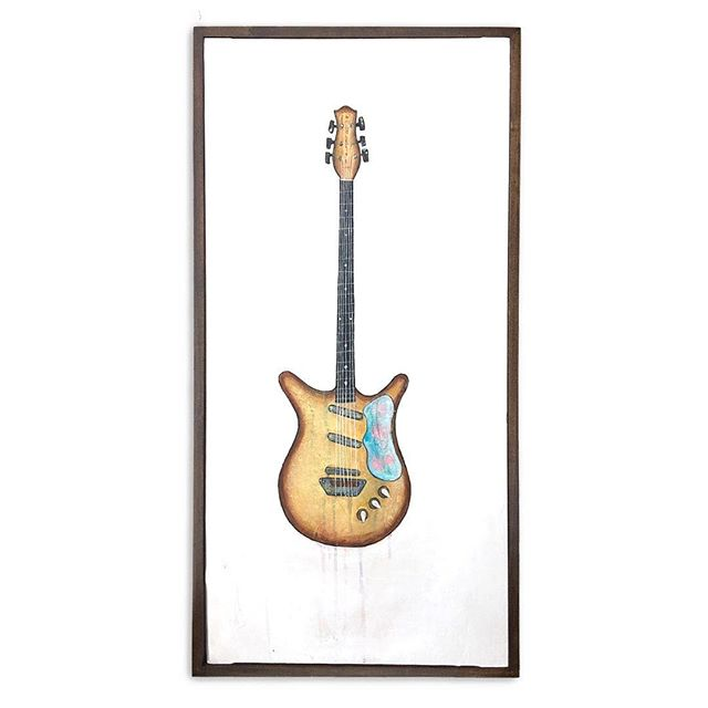 1959 Dan Electro. My favorite guitar in Cam's collection. Then he sold it. 🥺 I'll have paintings on display at @thewonderstonegallery for March. Come hang out THIS Saturday from 5-7, Dunmore Pa! . . . #katienovakart #handmadestuff #painting #supportlocalartists #scranton #scrantonart #scrantonartist #creativelifehappylife #customframes #guitar #danelectro #
