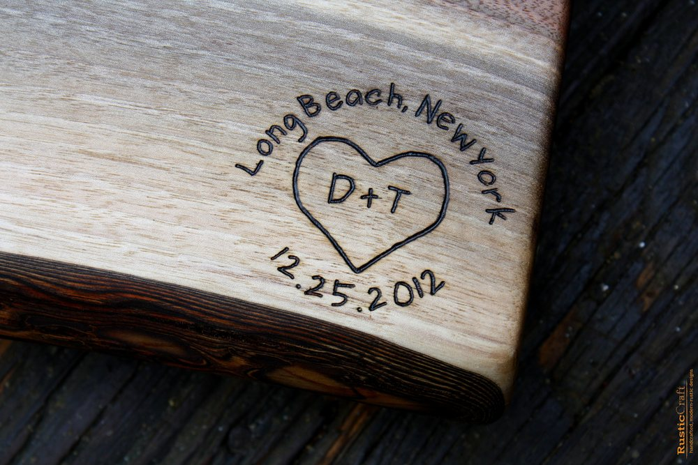 278 heart with location and date on black walnut