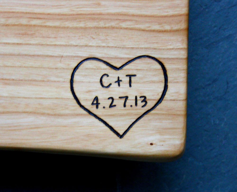 306 heart with initals and date on elm