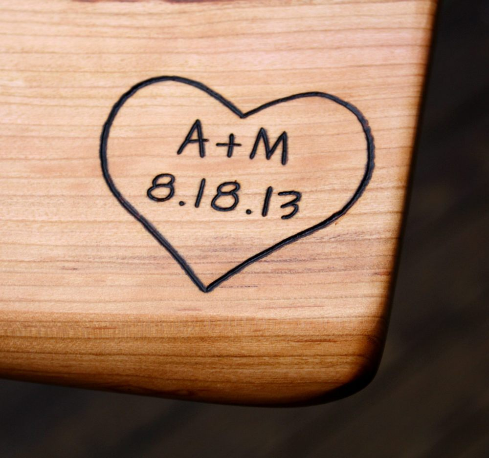 325 heart with initals and date on black cherry