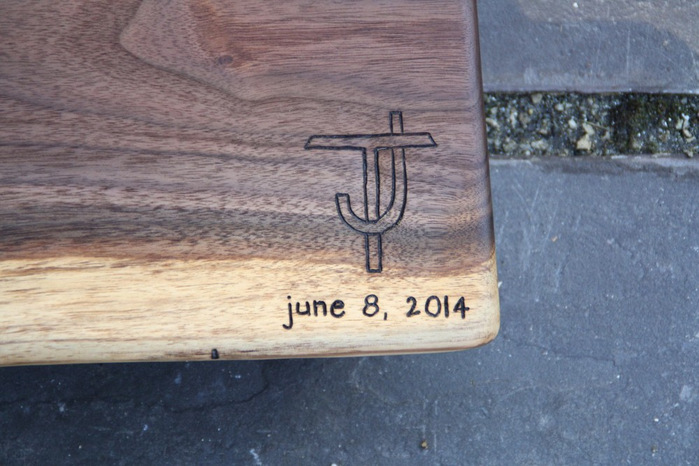 Custom designed monogram on Black Walnut