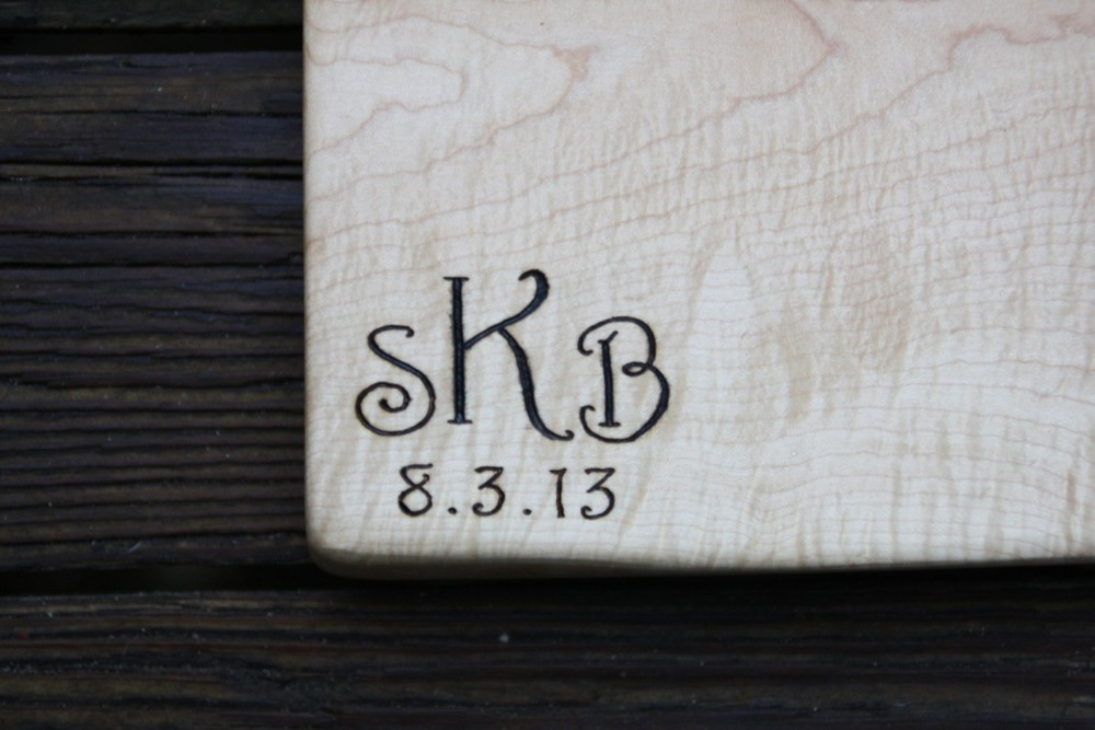 Script Monogram on maple