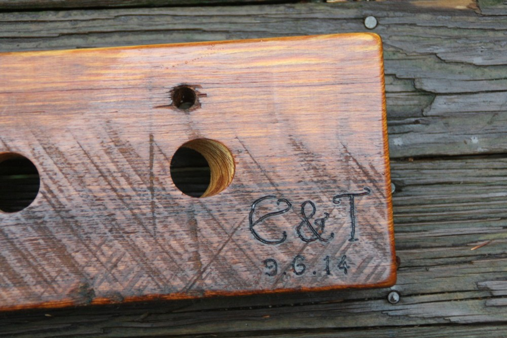 Initials and date on Pine Riddling Rack