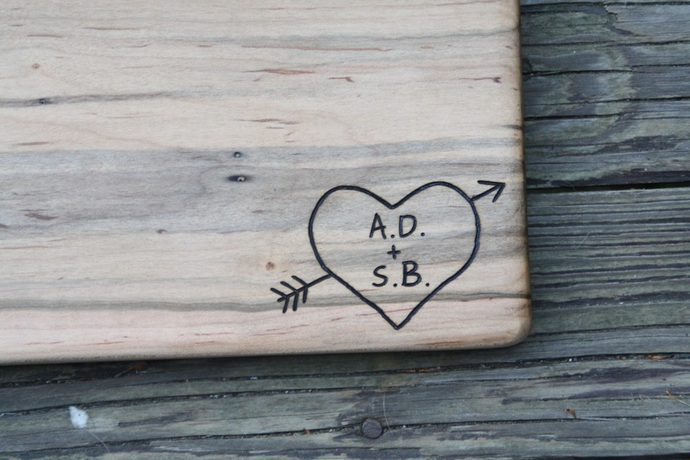 Initials in Heart with Arrow on Maple