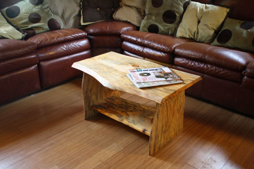 Handmade, Solid Spalted Eastern White Pine Slab Coffee Table 1066