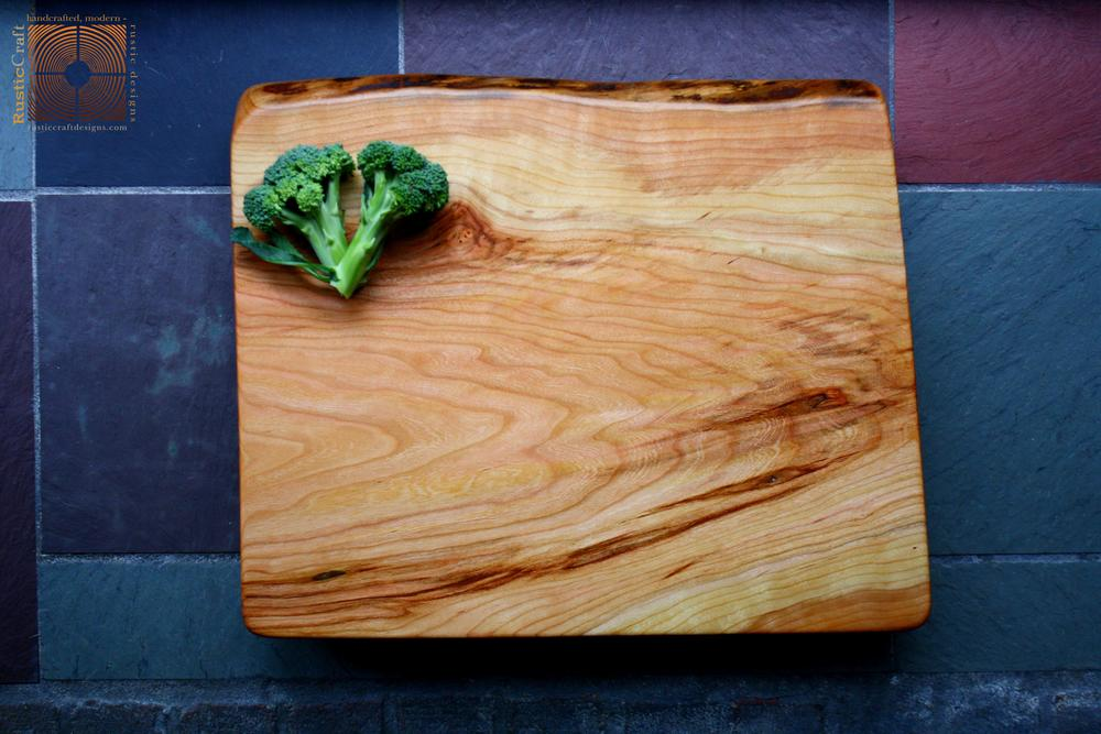 Personalized Cutting Board- Large Footed Natural Black Cherry- Add Hand engraving- Handcrafted Rustic Beeswax finish 404