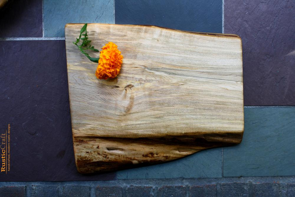 Hard Maple Cutting Board- Organic shape live edge- Thick Handcrafted Wood- Personalized 5th Anniversary Gift 410