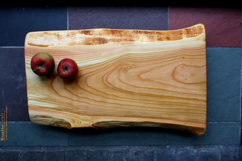 Farmhouse Style X-Large Wild Live Edge Footed Black Cherry - Personalized Handcrafted Solid Wood Cutting Board 420