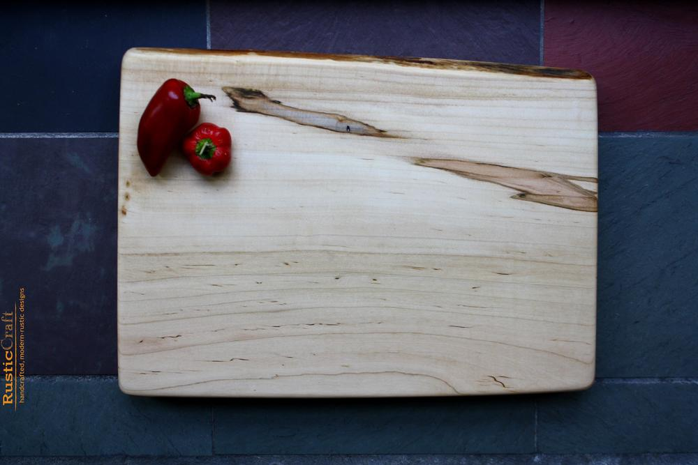 Unique Wedding Gift - Ambrosia Maple Live Edge Cutting Board - Large - Personalize with Hand Engraving- Kitchen Gift 424