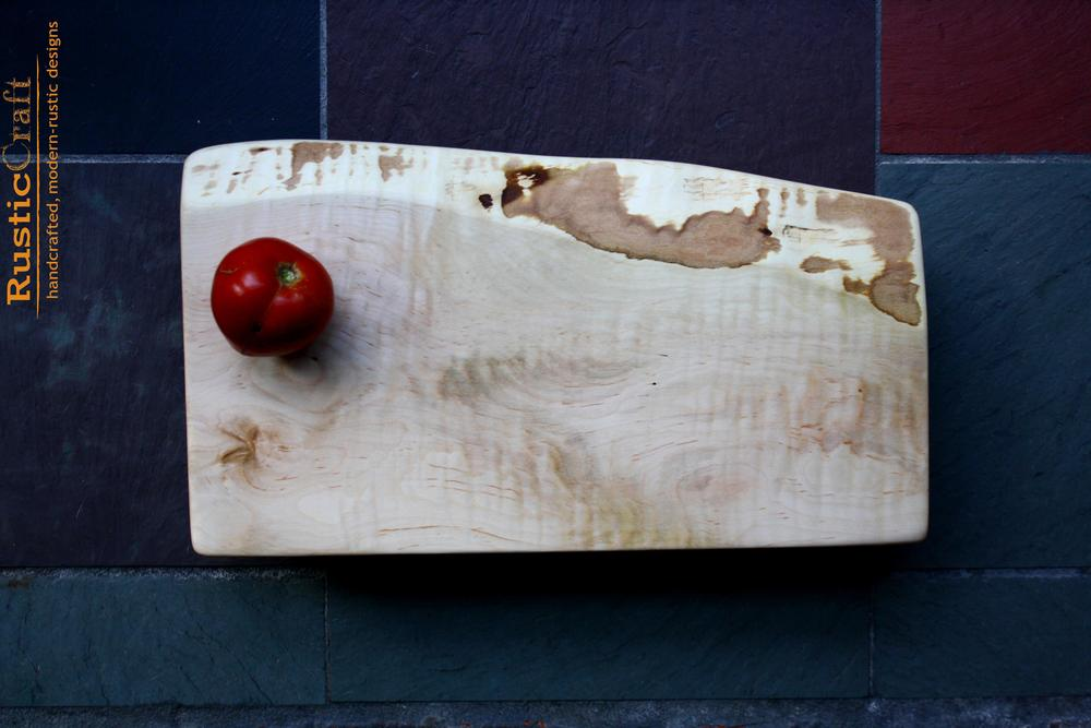 Organic shape Tiger Maple Cutting Board with Live Edge - Medium - Handcrafted Wood - Personalized Kitchen Gift 436