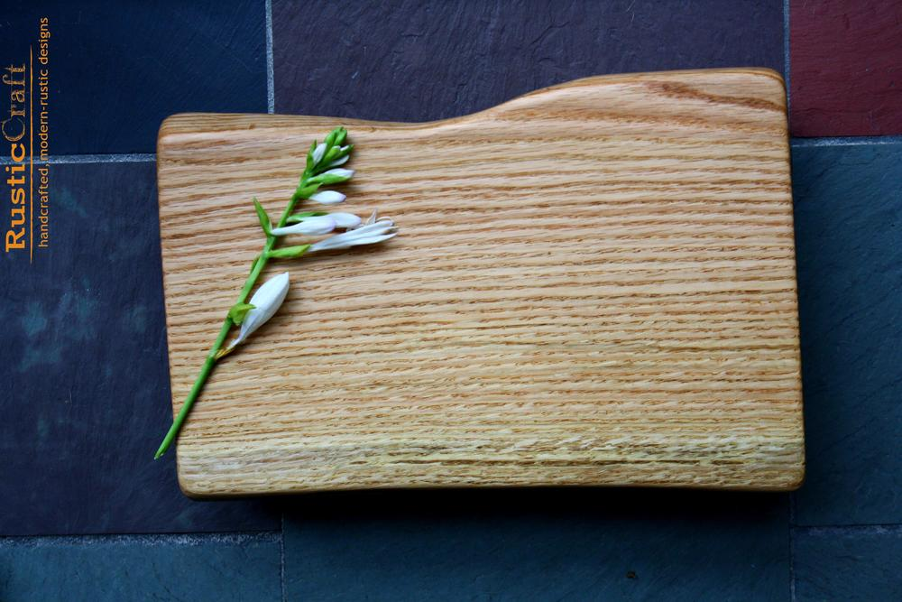 5th Anniversary Gift- Agrarian Red Oak Cutting Board with Black Walnut Feet- Medium 446