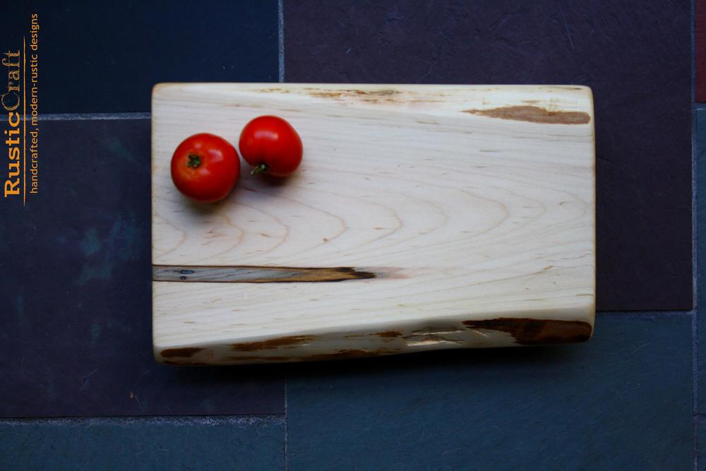 Footed Ambrosia Maple with Live edges- Small Wood Cutting Board- Personalized Wedding Gift- Unique Wedding Gift - Wood Anniversary Gift 450