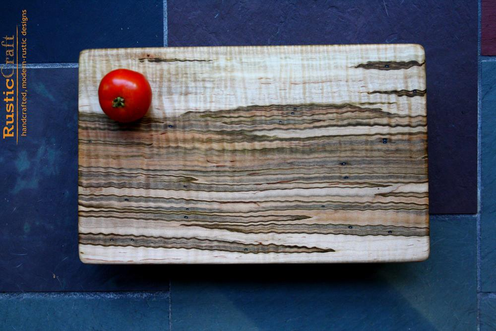 Wild Ambrosia Tiger Maple Cutting Board - Natural Live Edge detail - 6th 5th Anniversary & Unique Wedding Gifts 449