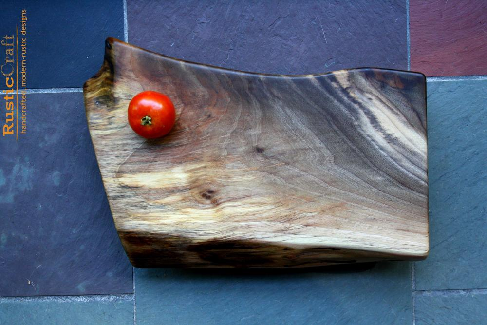 Unique Cutting Board and Serving Tray- Wild Organic Shape Black Walnut with Old growth Fir Feet -Unique Wedding Gift 448