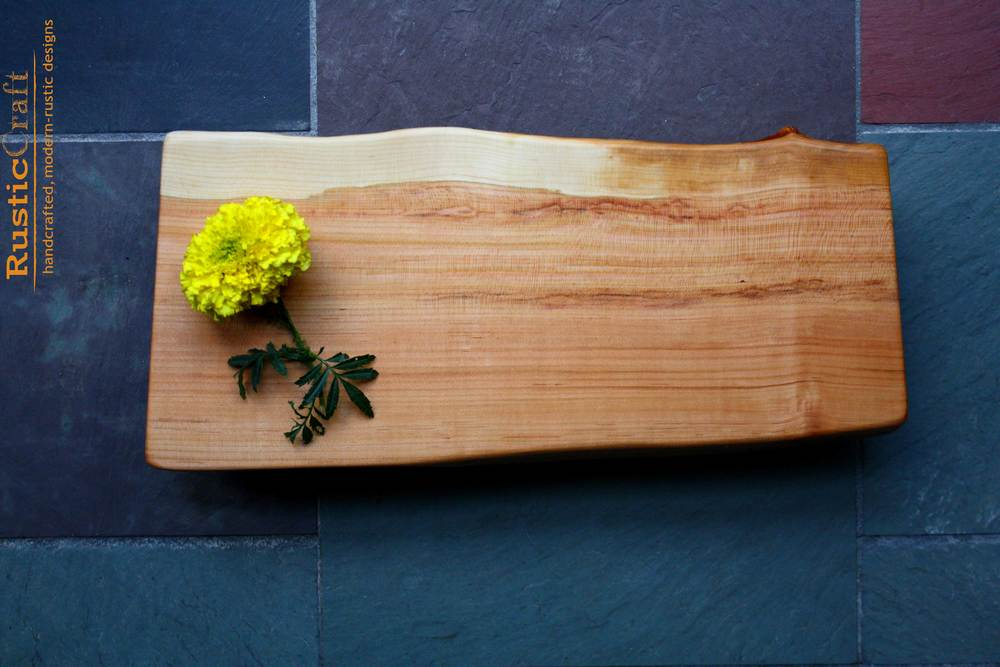 Personalized Wedding Gift- Rustic Serving & Cutting Board - Footed Black Cherry with live edge - Personalized Kitchen 465