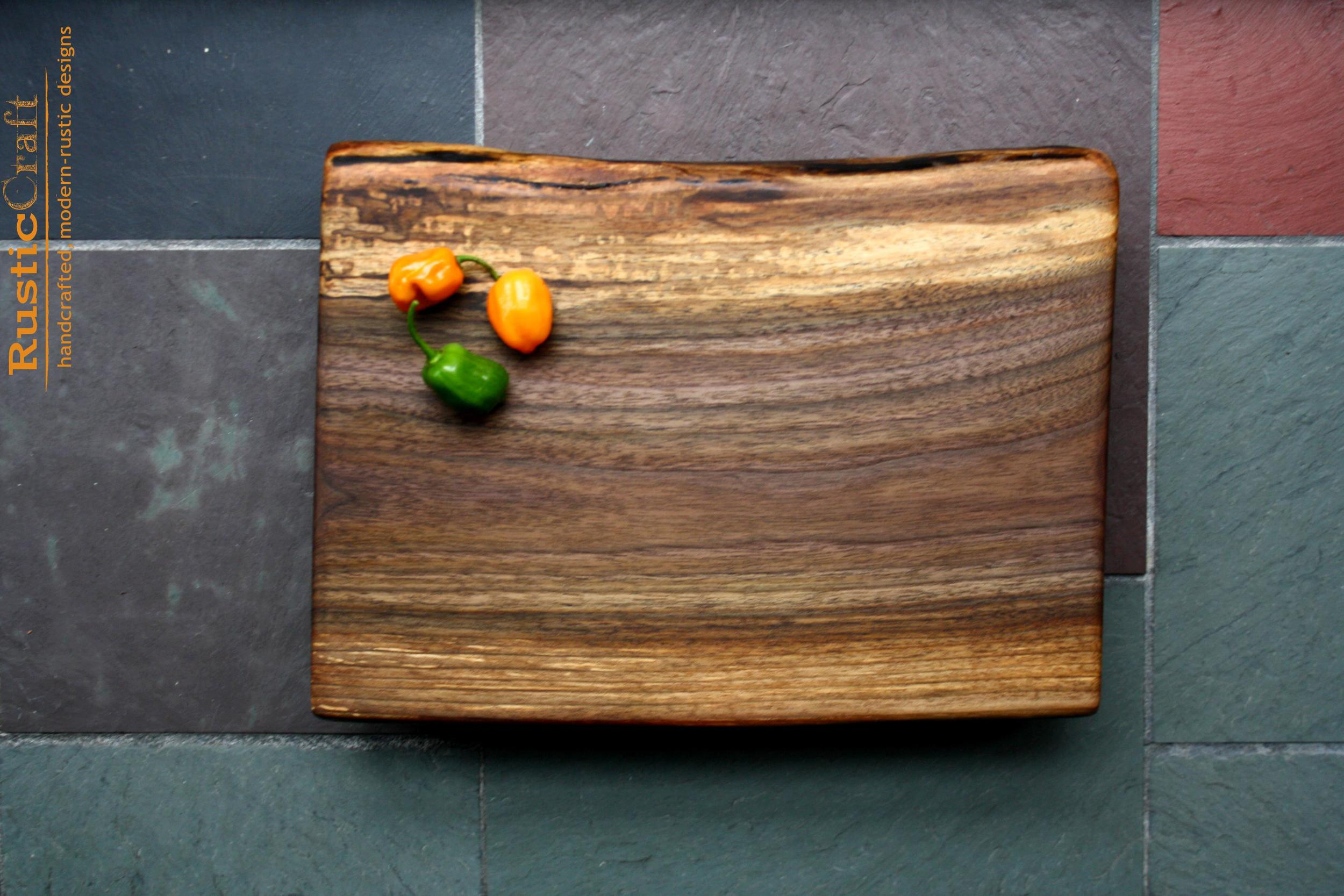 Personalized Cutting Boards- Live Edge Black Walnut on raised reclaimed Mahogany stands - Unique Wedding Gifts- 5th Anniversary gifts 476