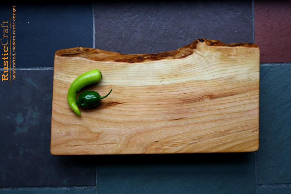 Customized Wedding Gift- Long Curved Black Cherry Cutting Board with Live Edge - Reclaimed Mahogany Feet- Unique Personalized Gift 478