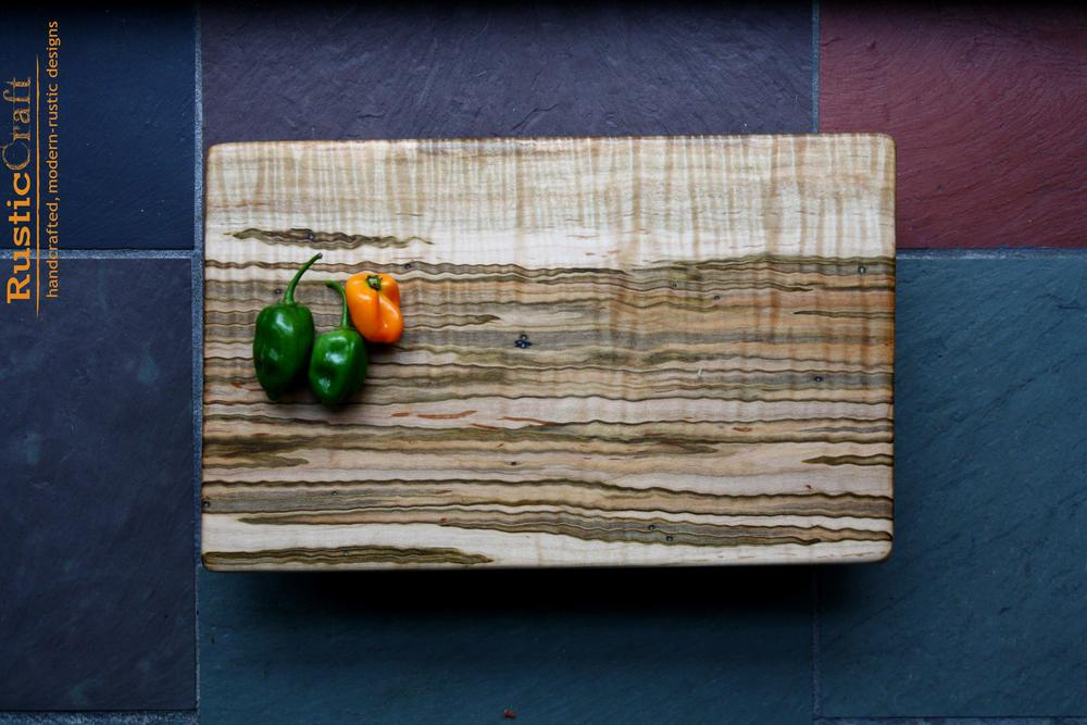 Wild Ambrosia Tiger Maple Cutting Board - Natural Live Edge detail - 6th 5th Anniversary & Unique Wedding Gifts 479