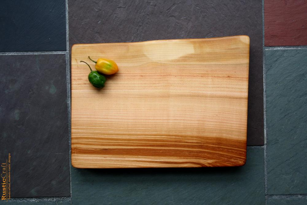 Small Black Cherry Slab- Cutting Board with Live Edge and Colorful grain- Personalized 5th Anniversary Gift 481