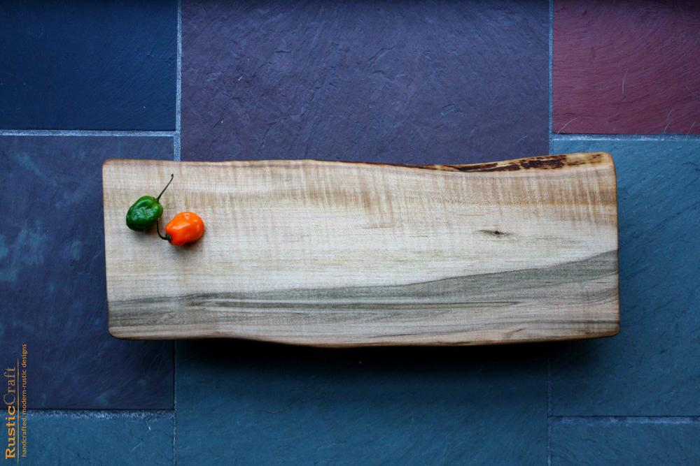 Organic shape Long Tiger Curl Maple Cutting Board with Live Edge - Handcrafted Wood - Personalized Kitchen Gift 489