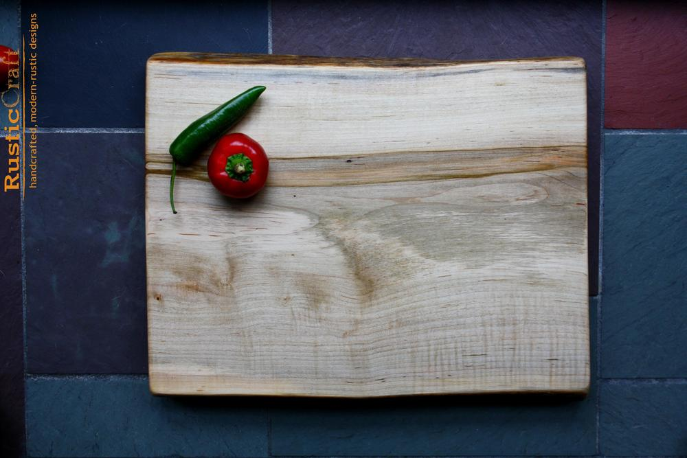 Hard Maple Organic shape live edge- Personalized Cutting Board - Unique Wedding Gift 435