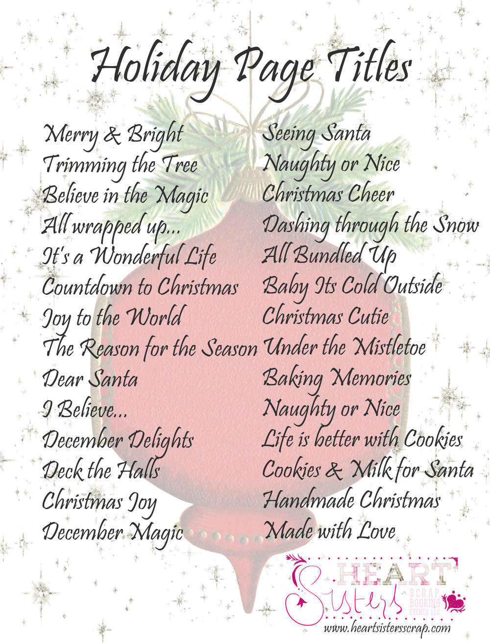 Holiday Scrapbook Titles Heart Sisters Scrapbooking Events