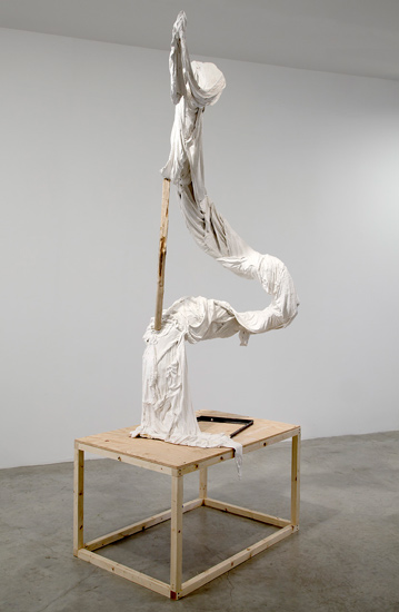 Undoing Persephone,  2011 Plaster, fabric, steel, wood, found branch (included in MFA Thesis show)