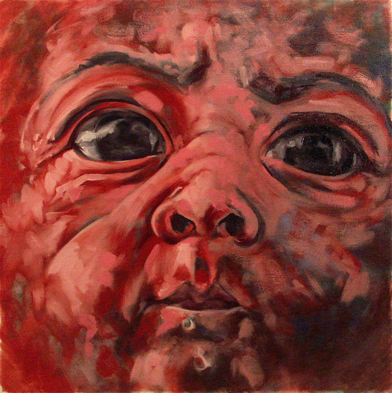 "Baby #3: Dexter   Oil on canvas, 17""x17"""