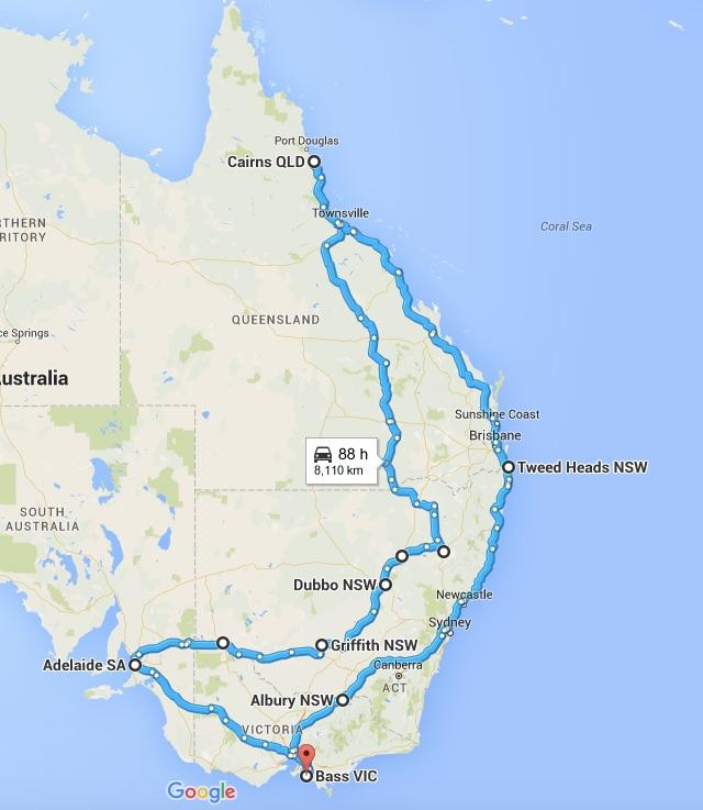 Australian Tour Map
