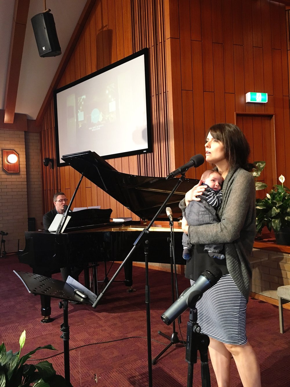 Our first time taking a church service after Ezra was born at Dandenong Polish SDA Church, Victoria, Australia
