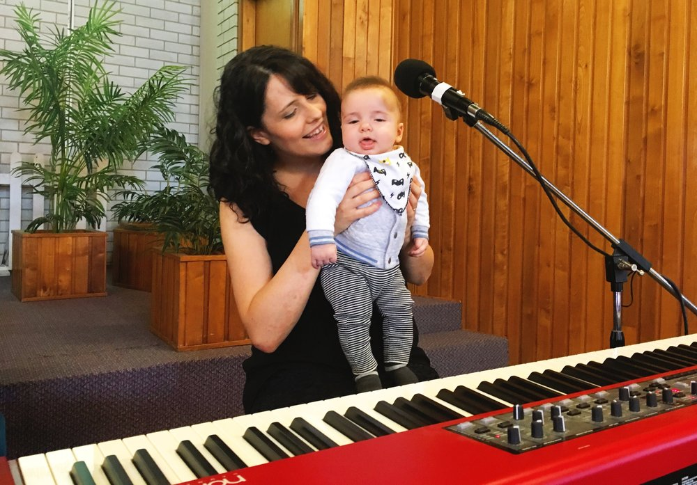Ezra checking out the piano!