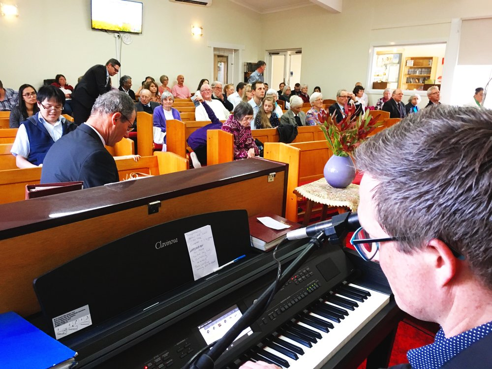 Singing at Warragul SDA Church in Victoria, Australia