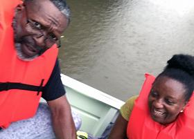 Rising floodwaters from Tropical Storm Harvey led to the Aug. 27 evacuation of the Rev. Vincent Harris and his Paula from their Houston-area home. Photo courtesy of the Rev. Vincent Harris.   .jpeg