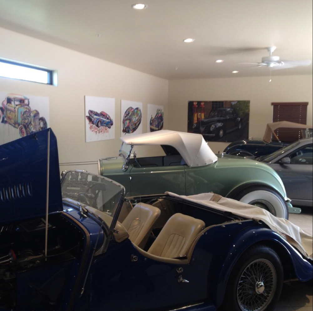 Showroom of car collector and chairman of the Concours d'Elegance Larry Moss