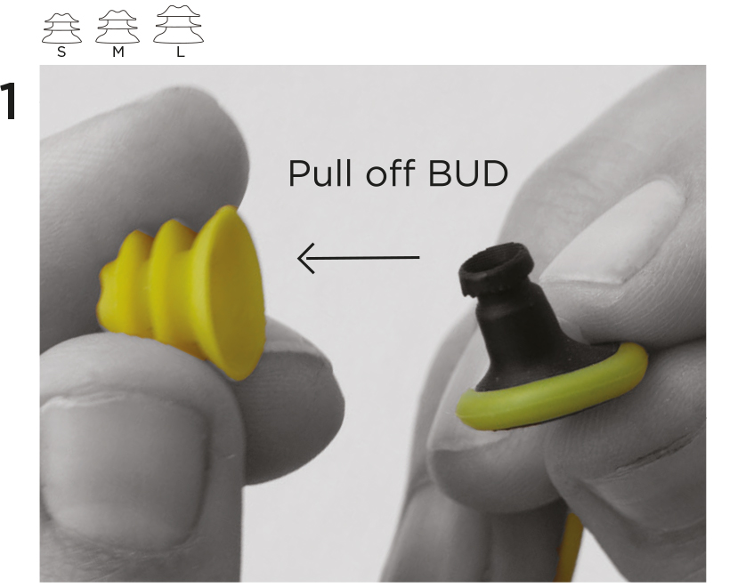 1. Grip the WING with one hand and pull o the BUD with the other