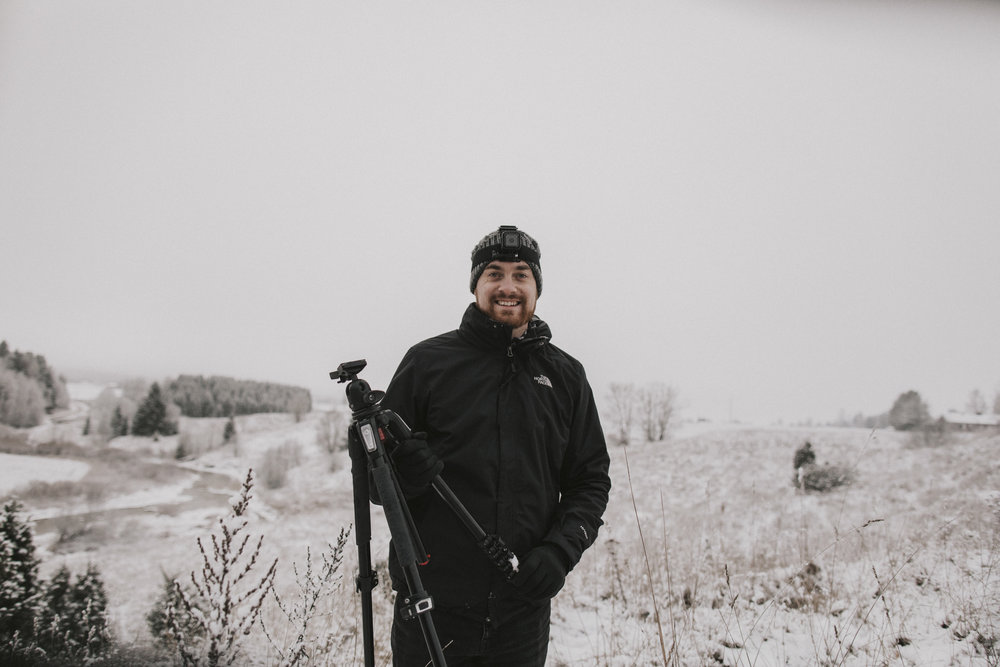 Camera stand in the snow