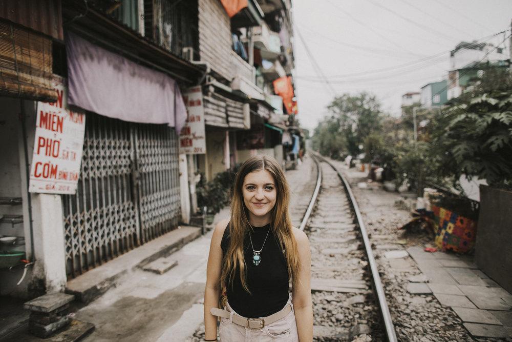 Brook walking the tracks in Hanoi