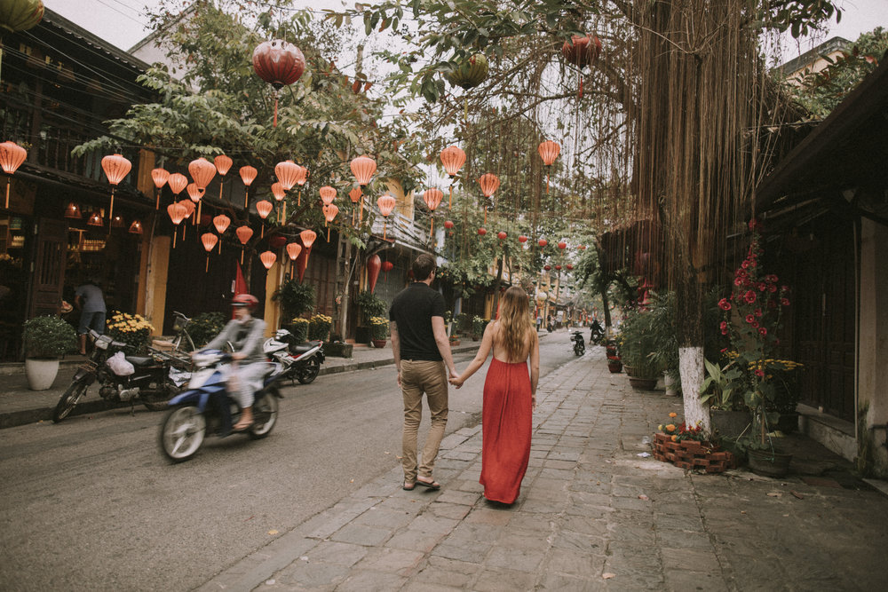 Walking under lanterns