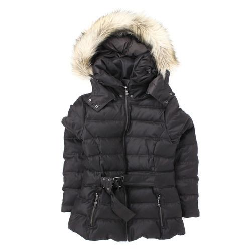 67b10567 Zara dark brown down-filled winter puffer jacket outer shell - Size L