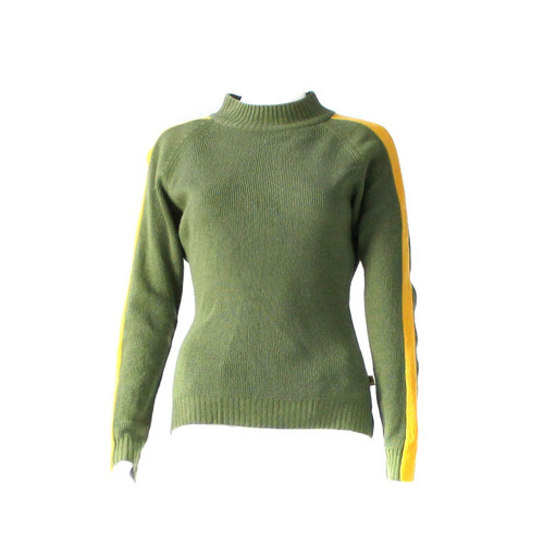 Roxy knitted green sweater with yellow stripe down arms - Size 10 ...