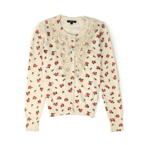 ae0a0d499a Maxim cream button up cardigan with pink rose pattern and lace button  detailing - Size S