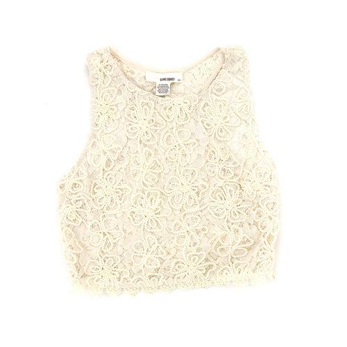 994f1fc835fc2d Sans Souci cream lace crochet cropped sleeveless top - Size M — The ...