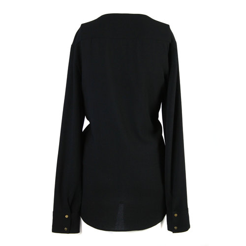 28ccfa7732 ZARA Womens black blouse with gold button detailing on shoulders - Size L