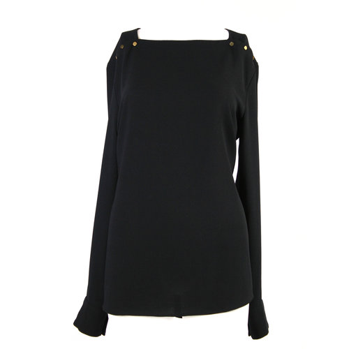 24840b02dddb05 ZARA Womens black blouse with gold button detailing on shoulders ...