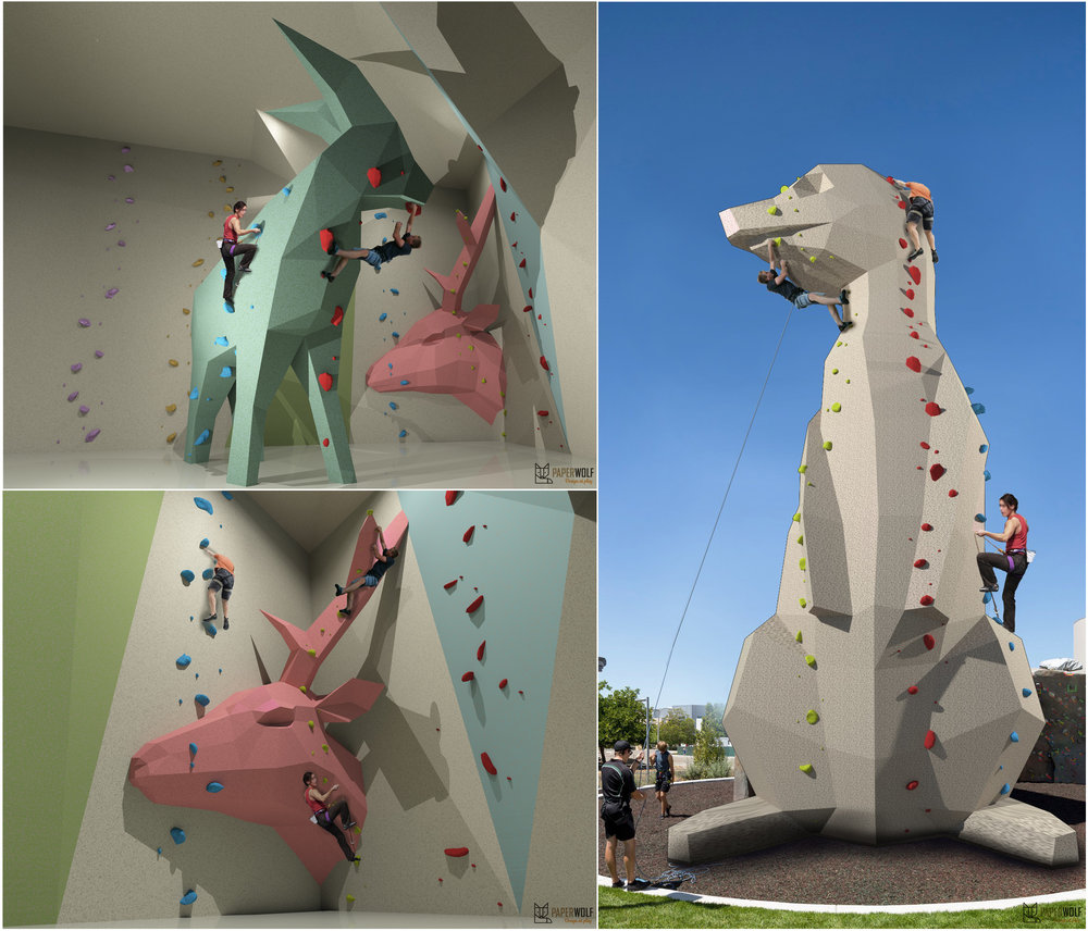 Concepts for climbing halls in Paperwolf style.
