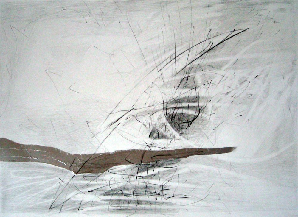 Blyant og sølvpapir på papir - 73 x 55 cm