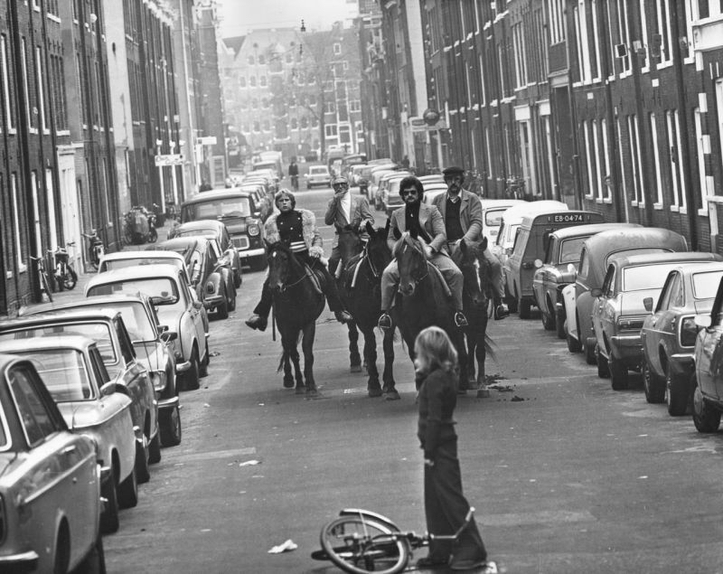"Image: ""Four horsemen riding through the streets of Amsterdam in 1973 during a 'Car-Free Sunday' introduced in response to the 1970s oil crisis"""