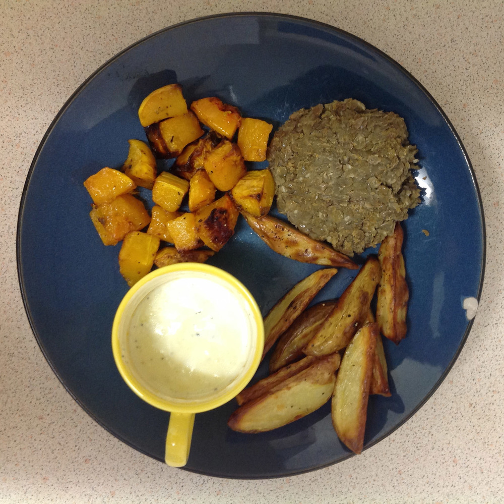 May not look like much, but I was so happy to eat this mini 'Roast Dinner' at the time: lentil burger made from scratch, potato wedges, roast butternut squash and a yogurt and garlic dip.